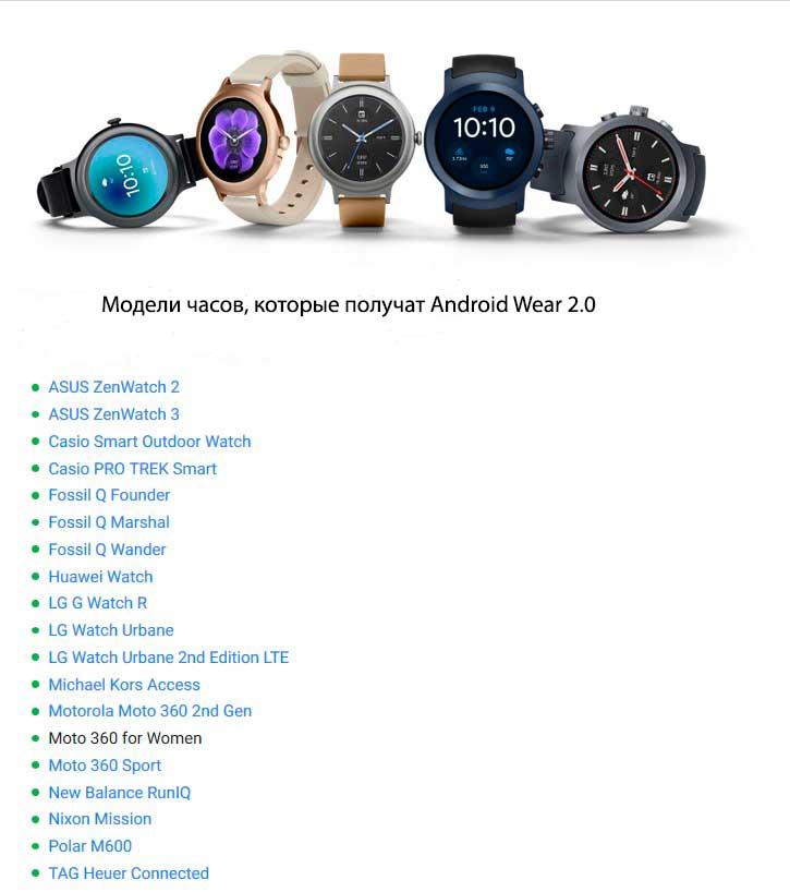 модели часов которые получат Android Wear 2.0